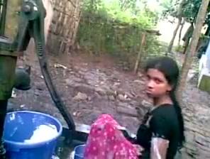 Indian School Damsel Outside Tub
